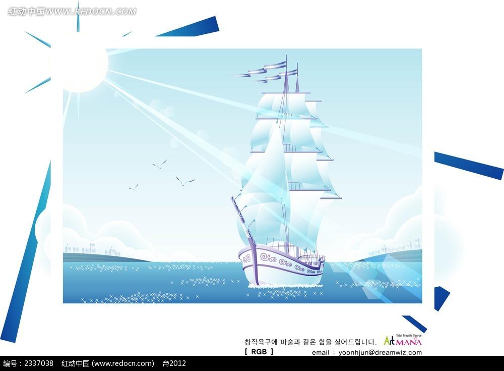 风和日丽帆船手绘背景画
