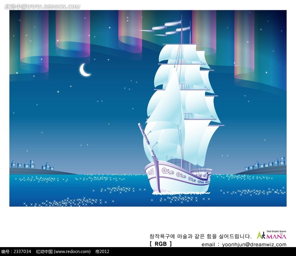 大型帆船手绘背景画
