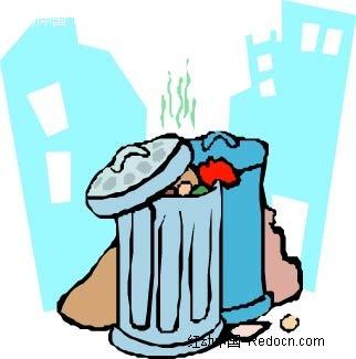 城市垃圾桶手绘图