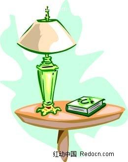 台灯桌子书本手绘图