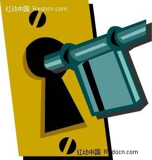 锁钥匙手绘背景图