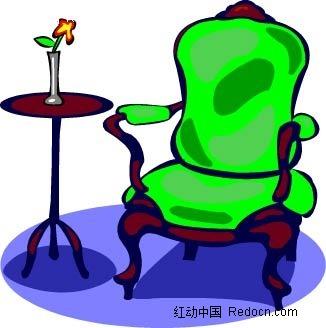 桌子椅子花手绘图形