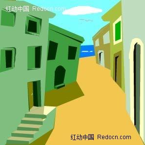 乡村房子手绘图