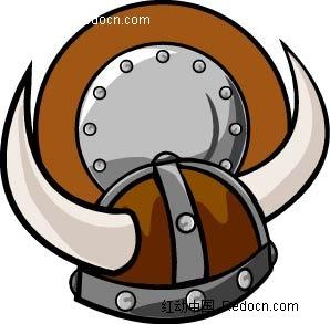 牛角头盔盾牌手绘线描画