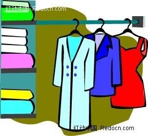 女士服装衣柜手绘画