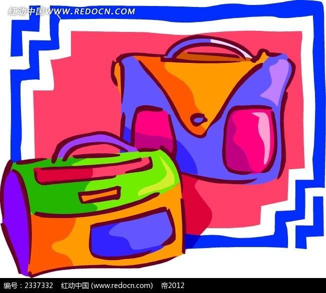 旅行包手绘边框背景图