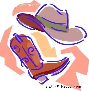 女士帽子靴子手绘线描图