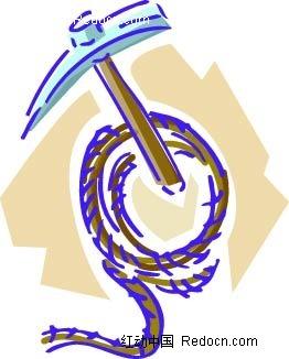 锄头绳子手绘画ai素材免费下载(编号2337318)_红动网