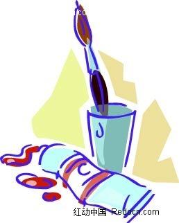 手绘线描牙刷牙膏