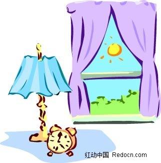 手绘画窗户台灯闹钟