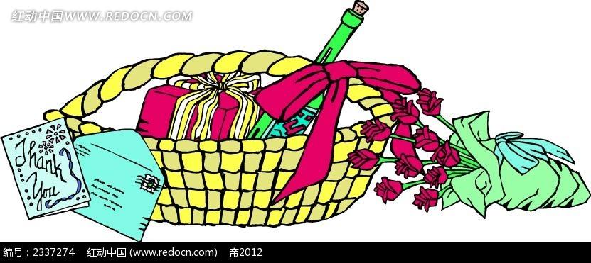 礼物花篮手绘线描图