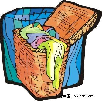 衣服篮子手绘图
