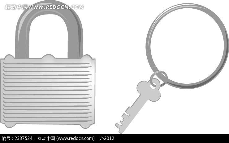 锁钥匙手绘图形设计