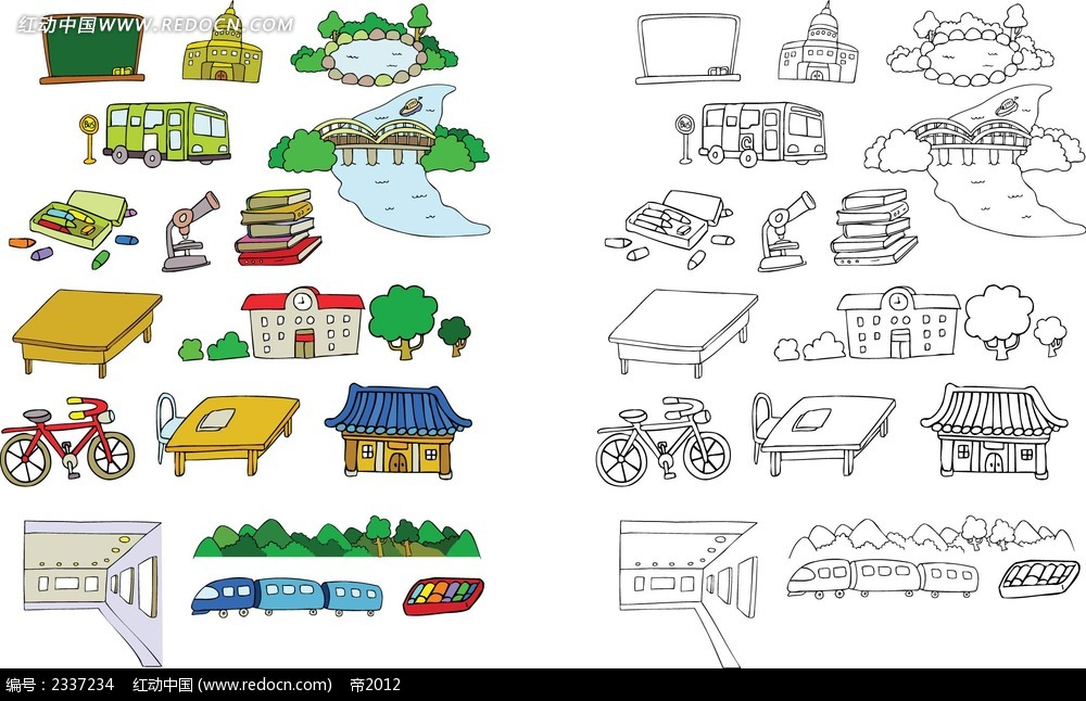 旅行手绘线描图形图标设计ai素材免费下载(编号)_红动