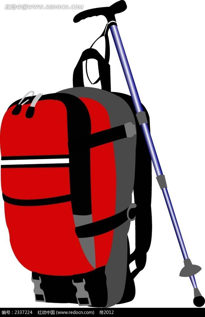 红色旅行包手绘画