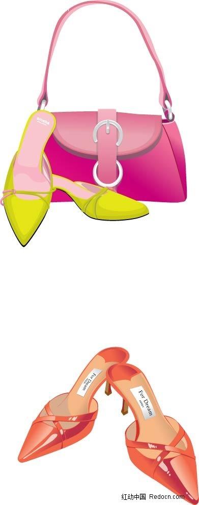 女士手提包高跟鞋手绘画ai素材免费下载(编号2337810)