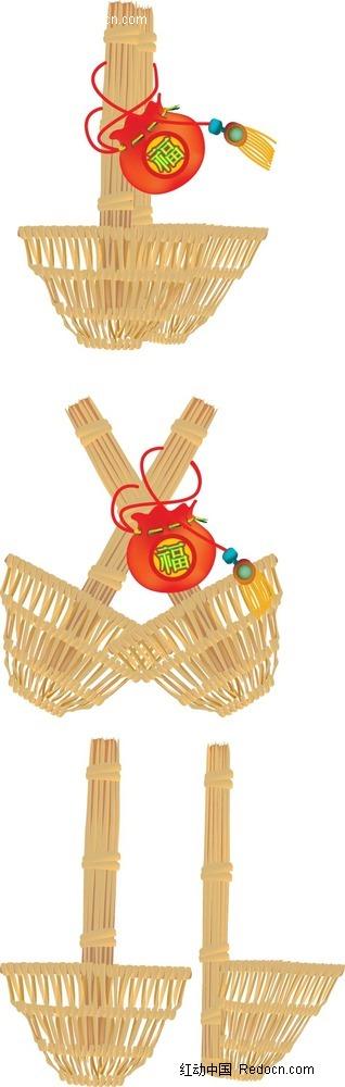 竹篓福字布袋手绘画图片
