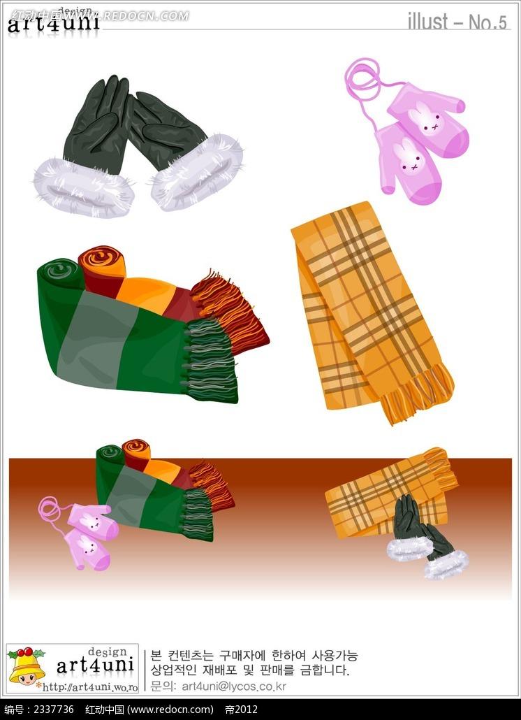围巾手套手绘画图片
