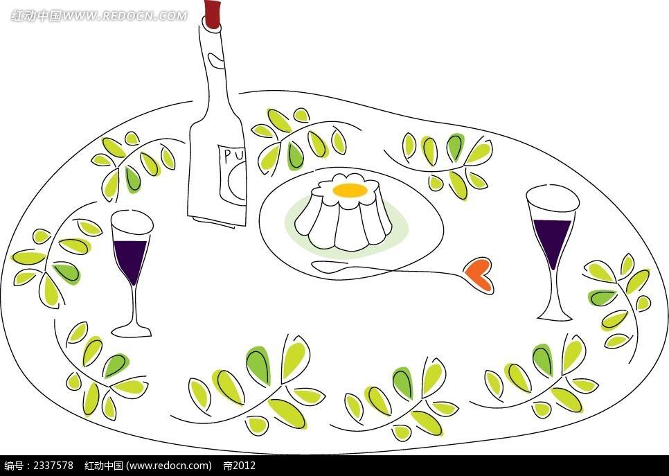 树枝红酒蛋糕手绘画