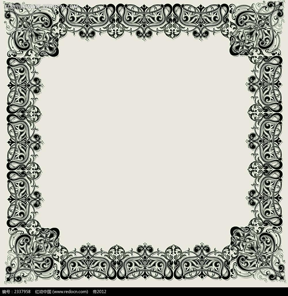 黑白欧式花纹边框
