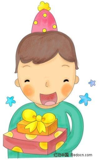 收到礼物的小孩子人物插画_卡通人物