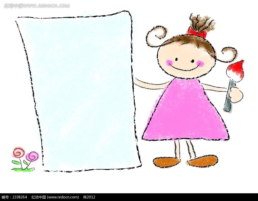 手绘可爱涂鸦少女漫画