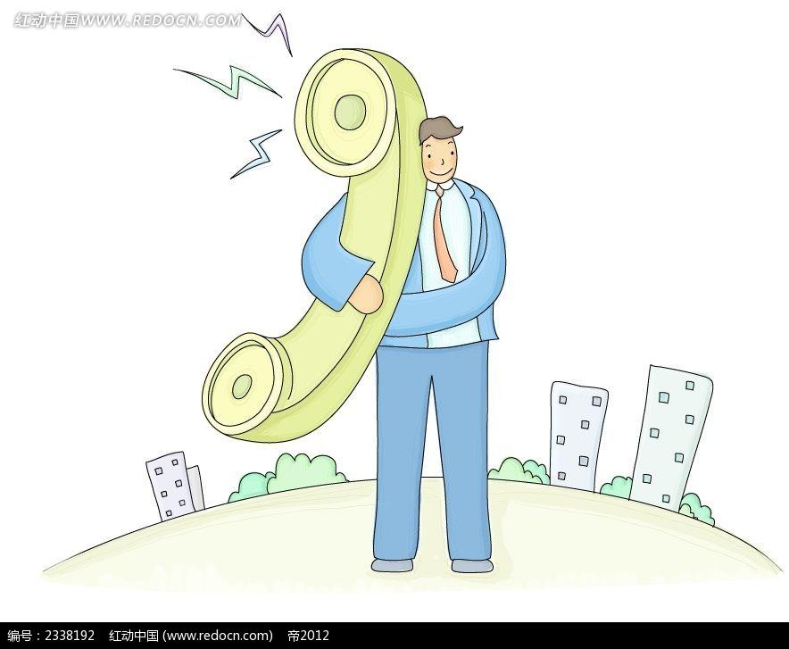 拿着电话机的西装男孩简约时尚插画psd免费下载