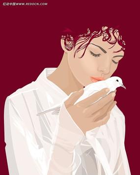抱着鸽子的女孩子插画