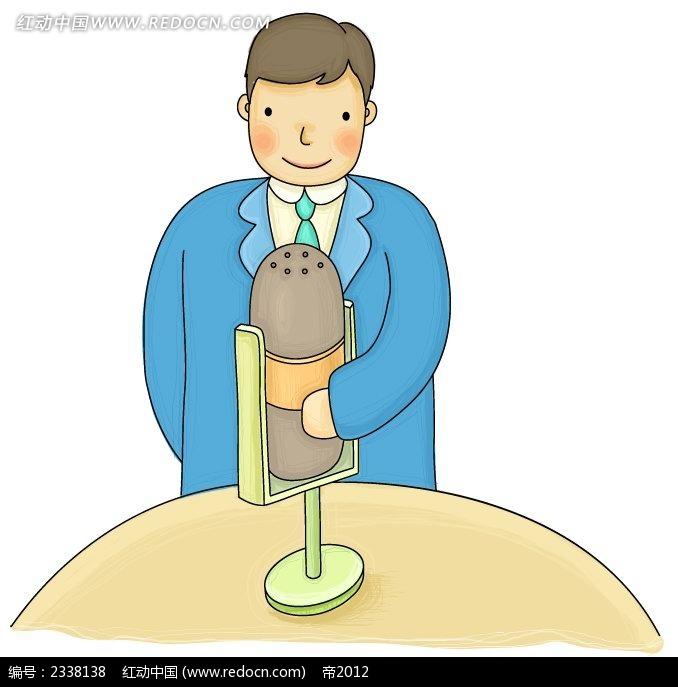 拿着话筒手绘涂鸦西装男卡通人物插画