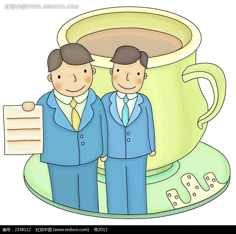 茶杯手绘西装男时尚人物插画