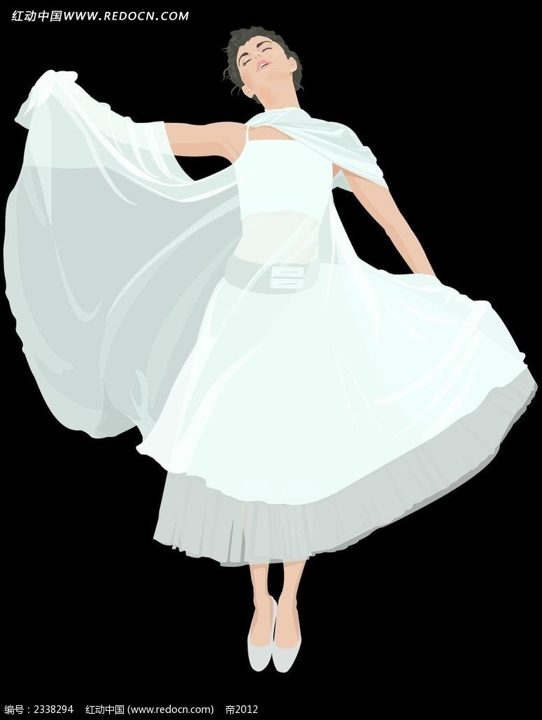 穿着纱质裙子的女孩子插画
