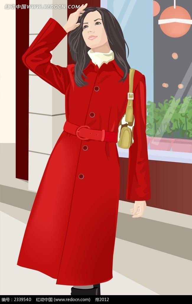 穿着红色风衣的女孩子人物漫画