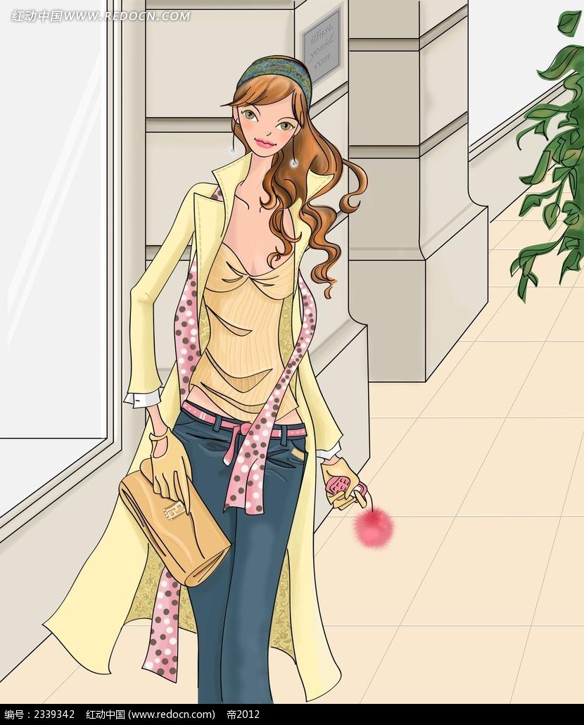 拿着手拿包的女孩子时尚插画
