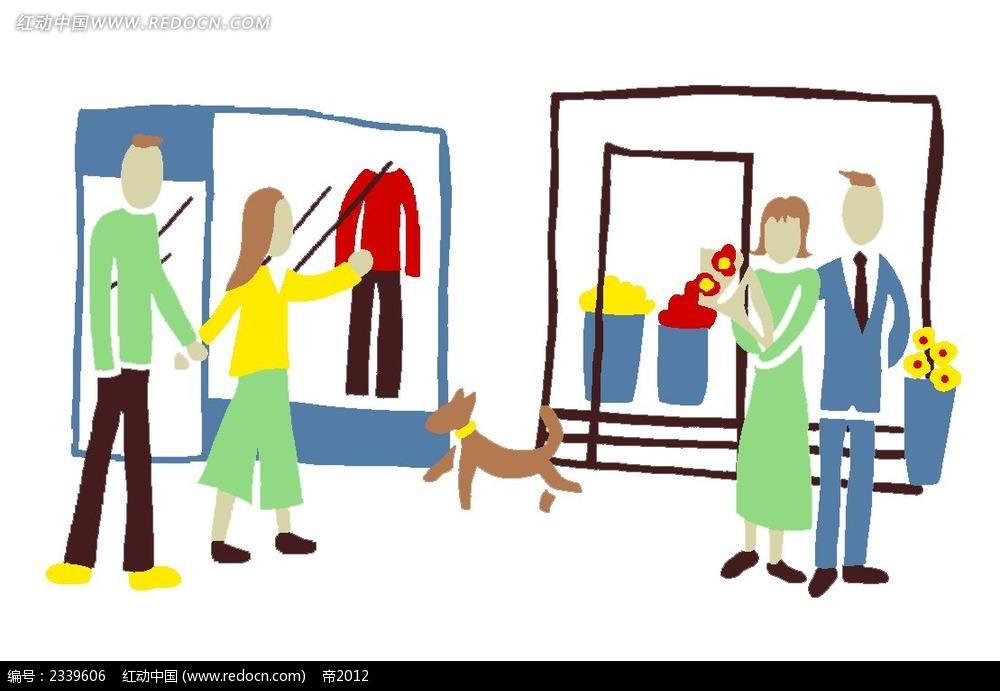 手绘涂鸦购物的男女卡通人物漫画