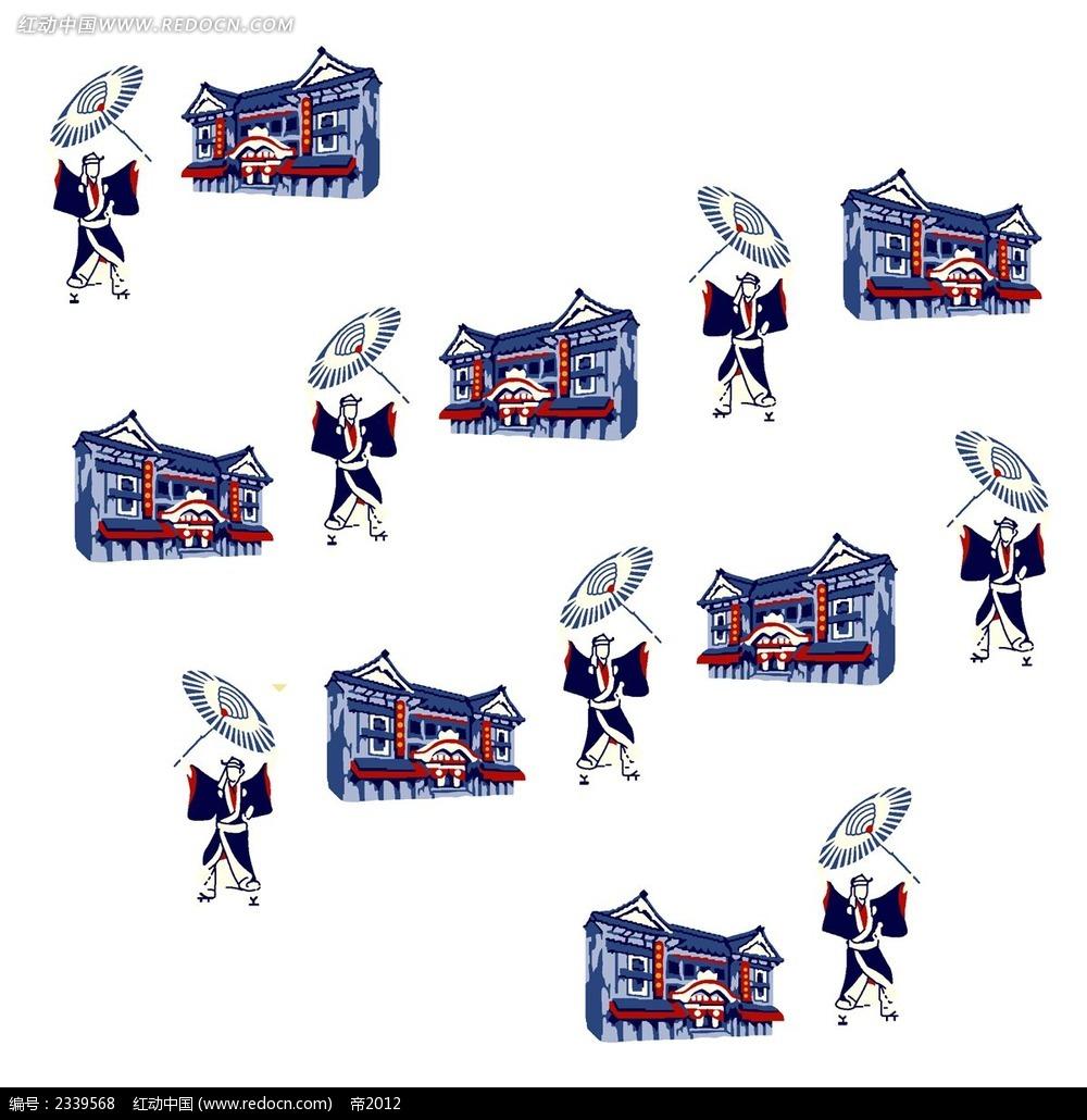 韩国古代拿伞的小人时尚人物插画
