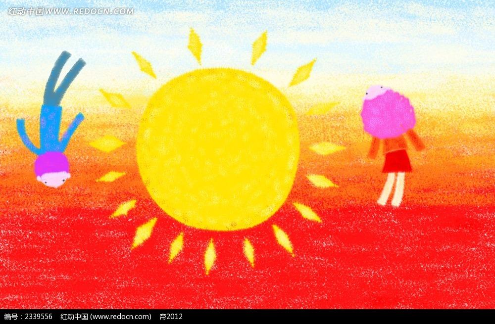 手绘金色太阳小朋友人物漫画图片