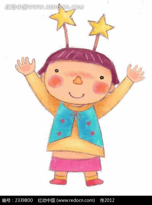 水彩伸出手的小孩子人物插画