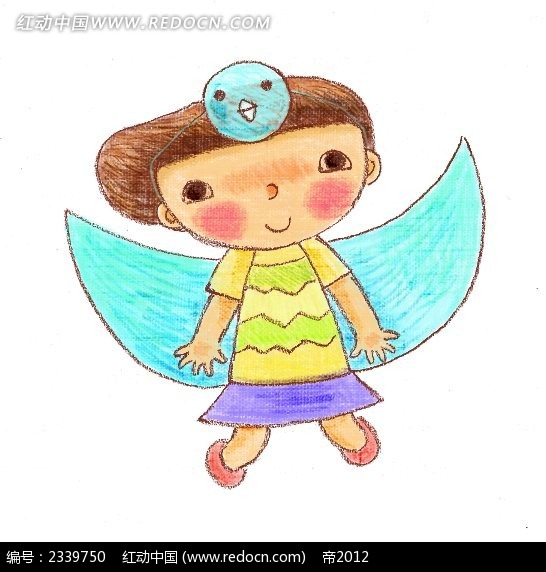 月亮小女孩卡通插画