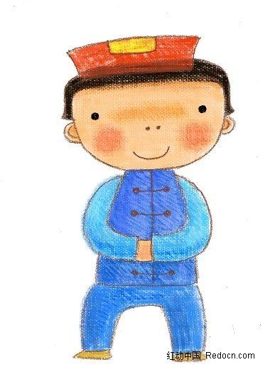中国风手绘小男孩卡通插画