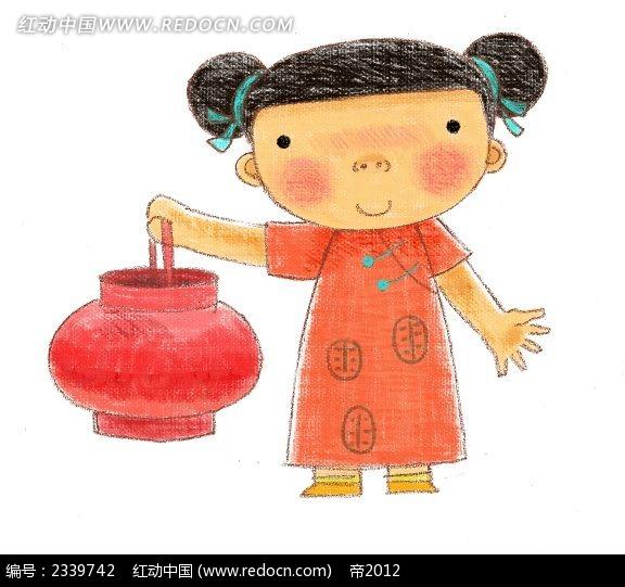 中国风打着灯笼的手绘小女孩卡通插画