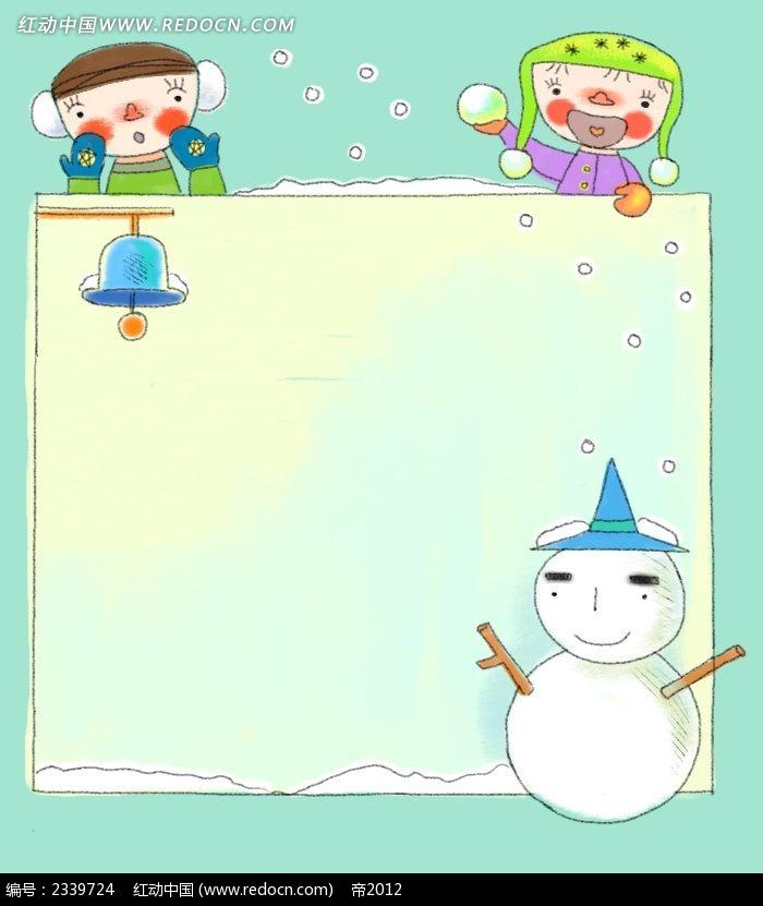 冬天雪人空白牌子卡通插画