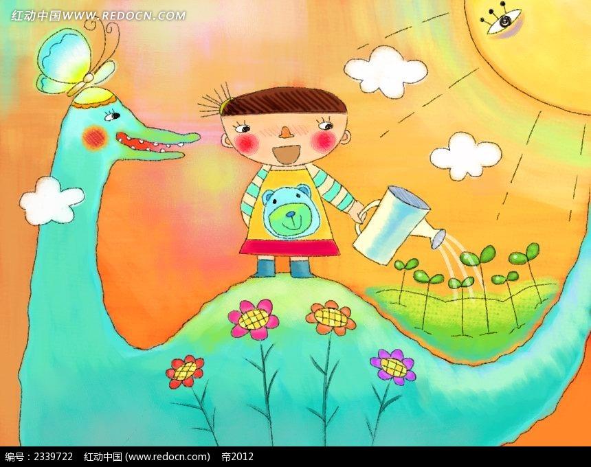 免费素材 psd素材 psd分层素材 卡通人物 浇花的手绘小孩卡通插画  请