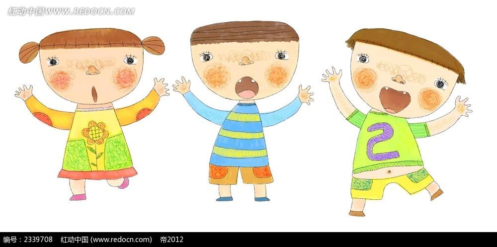 手绘可爱的小朋友时尚漫画