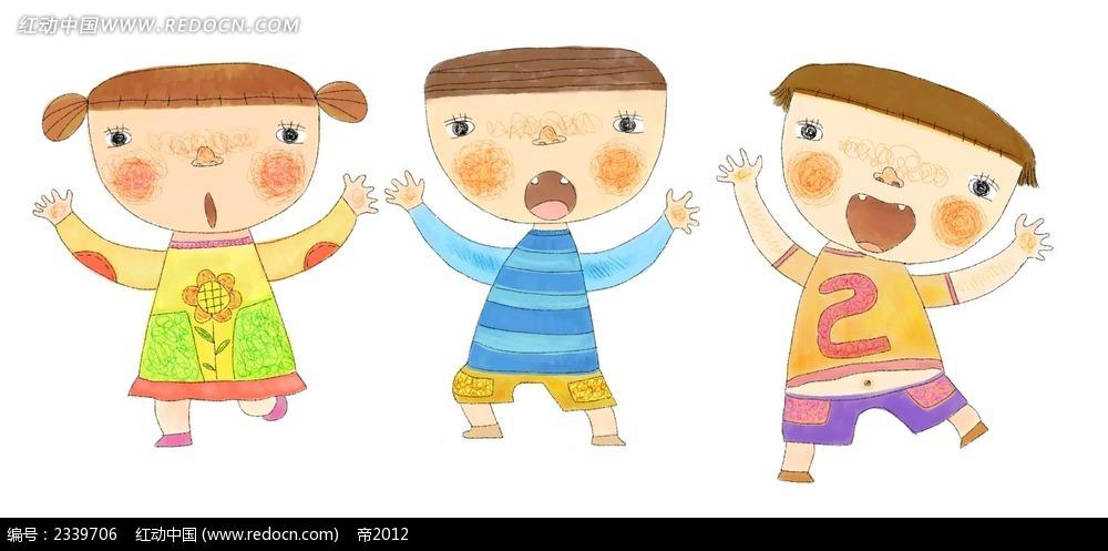 手绘伸出双手的可爱小朋友时尚漫画psd免费下载_卡通
