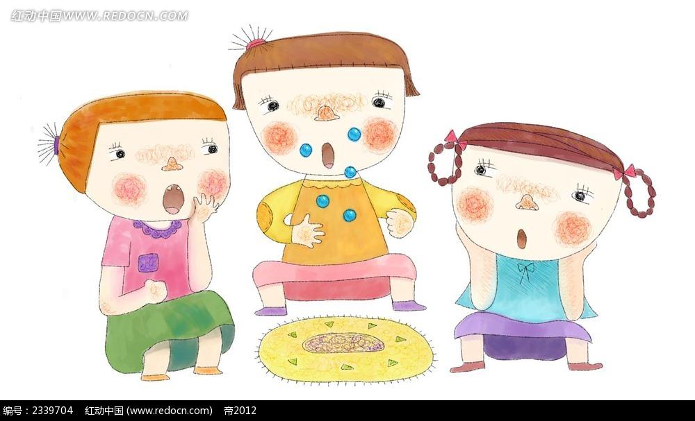 手绘一起玩耍的小朋友时尚漫画