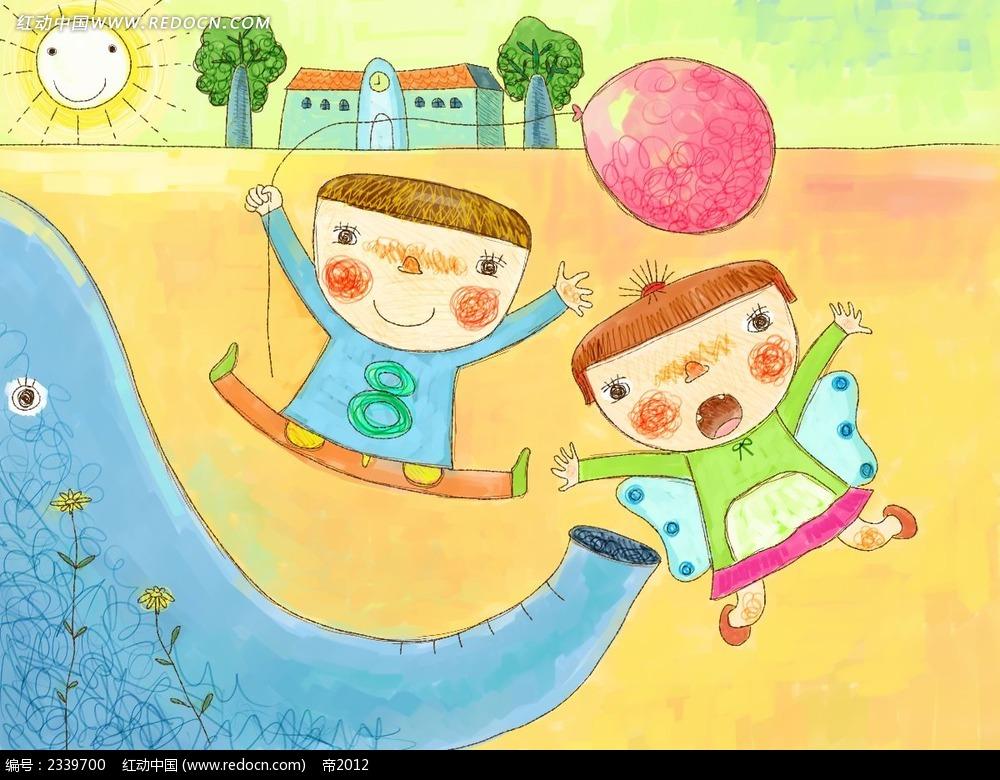 手绘拿着气球的小朋友时尚漫画