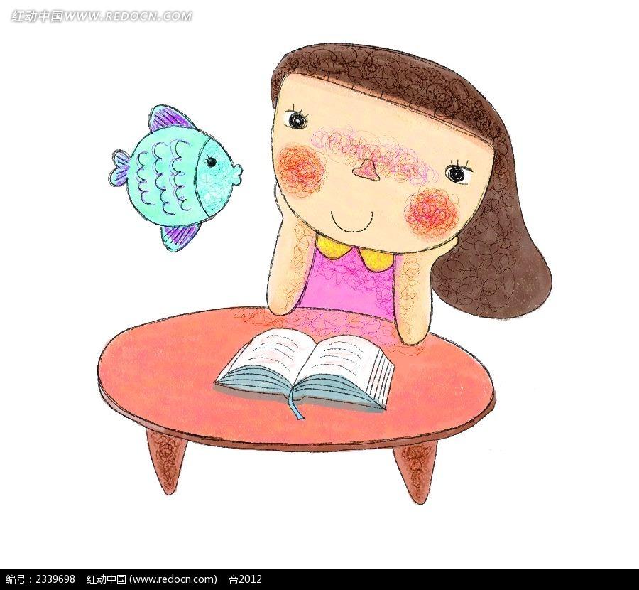 手绘看书的小女生时尚漫画