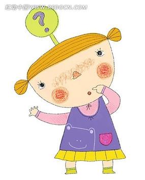 手绘水彩有疑问的女孩子插画