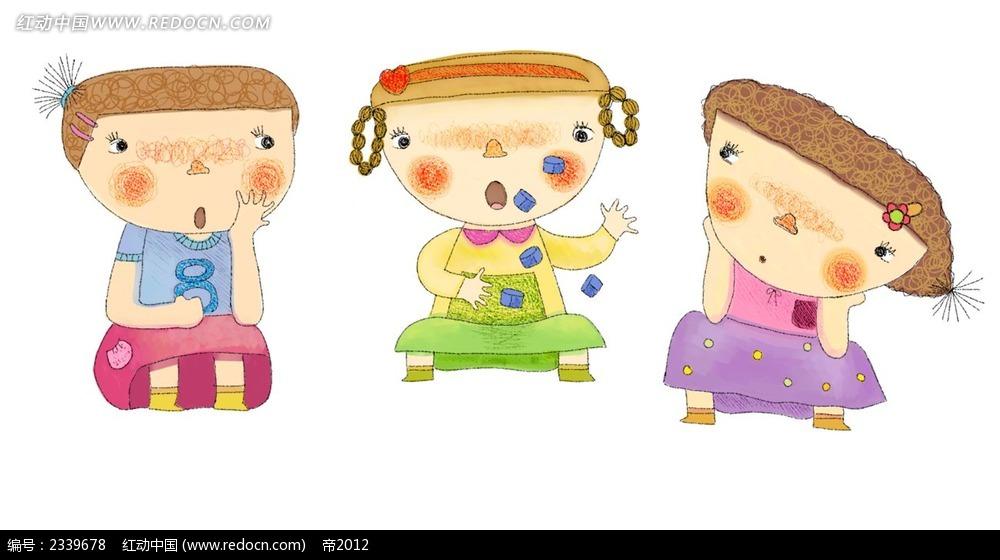 手绘水彩玩耍的小孩子插画psd免费下载_卡通人物素材