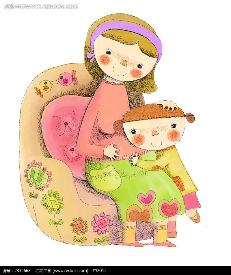 抱着妈妈的小女孩插画